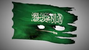 Saudi Arabia perforated, burned, grunge waving flag loop alpha stock footage