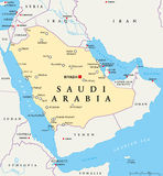 Saudi Arabia Political Map Royalty Free Stock Photo