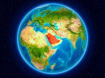Saudi Arabia on Earth. Saudi Arabia in red from Earth's orbit. 3D illustration. Elements of this image furnished by NASA stock illustration