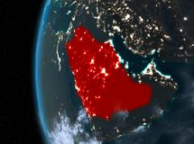 Saudi Arabia in red at night. Night map of Saudi Arabia as seen from space on planet Earth. 3D illustration. Elements of this image furnished by NASA Royalty Free Stock Image