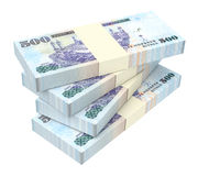 Saudi Arabia rials bills isolated on white background. Stock Photo
