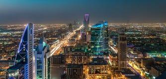 Saudi Arabia Riyadh landscape at night - Riyadh Tower Kingdom Centre - Kingdom Tower – Riyadh Skyline - Burj Al-Mamlaka –