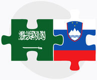Saudi Arabia and Slovenia Flags in puzzle isolated on white background Royalty Free Stock Photos