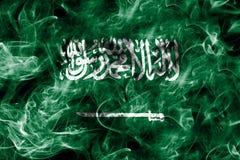Saudi Arabia smoke flag  on a black background.  Stock Images
