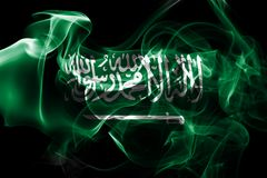 Saudi Arabia national smoke flag. Saudi Arabia smoke flag isolated on a black background Royalty Free Stock Photos