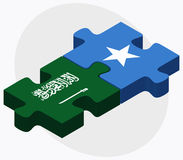 Saudi Arabia and Somalia Flags in puzzle isolated on white background Royalty Free Stock Photography