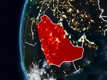 Saudi Arabia from space during night. Saudi Arabia at night with visible country borders. 3D illustration. Elements of this image furnished by NASA Vector Illustration