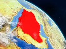 Saudi Arabia from space. On realistic model of planet Earth with country borders and detailed planet surface and clouds. 3D illustration. Elements of this image stock illustration