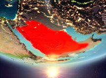 Saudi Arabia with sun. Saudi Arabia during sunrise highlighted in red on planet Earth with clouds. 3D illustration. Elements of this image furnished by NASA Stock Image