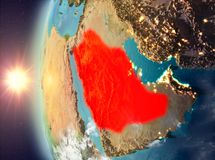 Saudi Arabia during sunset from space. Saudi Arabia as seen from space on planet Earth during sunset. 3D illustration. Elements of this image furnished by NASA Stock Images