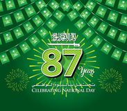 Saudi Arabia 87th National Day Background with Garland Flags. Hanging Bunting Flags for celebration Banner, An inscription in Arabic & English `Celebration Royalty Free Stock Photos