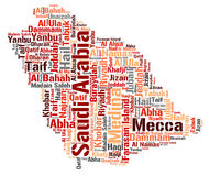 Saudi Arabia top travel destinations word cloud Royalty Free Stock Photos