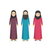 Saudi Arabia Traditional Clothes People. Arabian traditional clothes people. Arab traditional muslim, arabic woman clothing, east arabian dress, ethnicity Royalty Free Stock Images