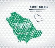 Saudi Arabia vector map with flag inside isolated on a white background. Sketch chalk hand drawn illustration. Vector sketch map of Saudi Arabia with flag, hand vector illustration