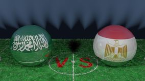 Saudi Arabia versus Egypt. 2018 FIFA World Cup.Original 3D image. June 25, Saudi Arabia vs Egypt 2018 FIFA World Cup.Original 3D image. Two balloons above a Stock Photography