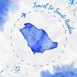 Saudi Arabia watercolor map in blue colors. Stock Photos