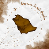 Saudi Arabia watercolor map in sepia colors. Stock Photography