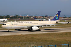 Saudi Arabian Airlines Airbus A330-300 airplane Istanbul Airport Royalty Free Stock Images