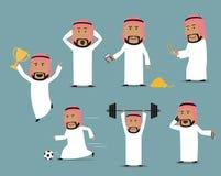 Saudi arabian businessman in different poses set Stock Photo