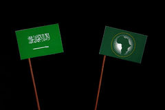 Saudi Arabian flag with African Union flag  on black Stock Photos