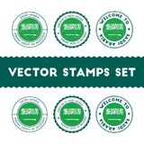 Saudi Arabian flag rubber stamps set. National flags grunge stamps. Country round badges collection Royalty Free Stock Image