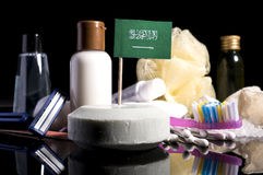 Saudi Arabian flag in the soap with all the products for the peo Royalty Free Stock Photo