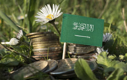 Saudi Arabian flag with stack of money coins with grass Stock Image