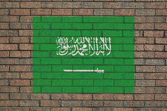 Saudi Arabian flag on wall Stock Photography