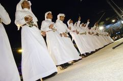 Saudi Arabian folklore performance in Al-Masmak on the celebrations of Eid Al-Fitr, on 25.10.2006, Riyadh, Saudi Arabia stock photography