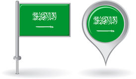 Free Saudi Arabian Pin Icon And Map Pointer Flag Royalty Free Stock Photography - 53952797