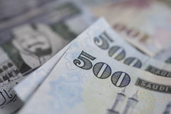 Saudi Arabian riyal notes, Close-up view Stock Photos