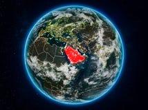 Saudi-Arabien auf Erde nachts Lizenzfreie Abbildung