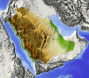 Saudi-Arabien, Entlastungskarte Stockfoto