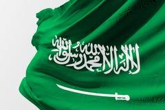 Saudi-Arabien fahnenschwenkende realistische saudi-arabische Flagge 3d stockfotografie