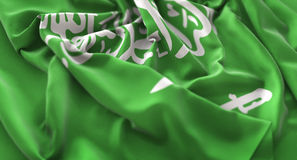 Saudi-Arabien Flagge gekräuselter schön wellenartig bewegender Makronahaufnahme-Schuss stockbild