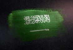 Saudi-Arabien Flagge gemacht von der metallischen Bürsten-Farbe auf Schmutz-Dunkelheit Wa stockfotografie