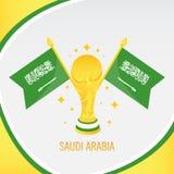 Saudi-Arabien Goldfußball-Trophäe/Cup und Flagge lizenzfreie abbildung