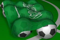 Saudi-Arabien Markierungsfahne und Fußballkugeln Stockfoto