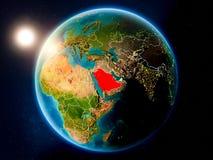 Saudi-Arabien mit Sonnenuntergang vom Raum stockfoto