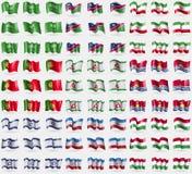 Saudi-Arabien, Namibia, der Iran, Portugal, Inguschetien, Kiribati, Israel, Mari El, Hugary Großer Satz von 81 Flaggen Stockfoto