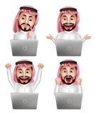 Saudi-arabischer Mannvektorzeichensatz vor Laptop mit verschiedenen Aktionen Lizenzfreies Stockfoto