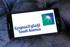 Saudi aramco logo. Logo of saudi aramco oil company on samsung mobile phone Stock Photo