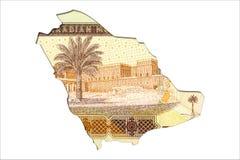 10-Saudi Riyal-Banknotenrückseite in Form von Saudi-Arabien lizenzfreie stockfotos