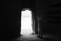 Saudian inside a Nabatean tomb in Madaîn Saleh archeological si Royalty Free Stock Images