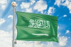 Saudiarabien flagga som vinkar i blå molnig himmel, tolkning 3D royaltyfri illustrationer