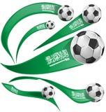 Saudiarabien flaggauppsättning med fotbollbollen Royaltyfri Foto