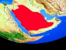 Saudiarabien från utrymme på jord royaltyfri illustrationer