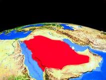 Saudiarabien från utrymme på jord vektor illustrationer