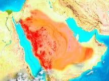 Saudiarabien i rött på jord Royaltyfri Fotografi