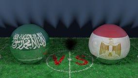 Saudiarabien kontra Egypten FIFA världscup 2018 Bild för original 3D stock illustrationer
